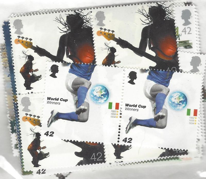 100 x 42p Cheap GB Postage Stamps (mixed designs)